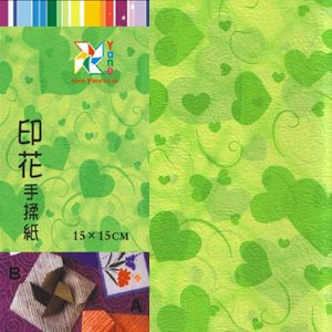 Patterns Shoyu Paper - green heart, 6 inch (15 cm) square, 15 sheets, (YHZ046)